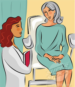 A woman sitting on an exam table talking to her doctor about her PAP test